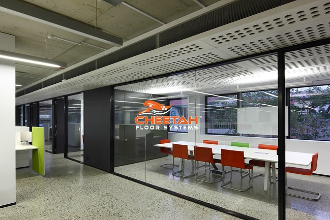 Commercial office building with polished concrete floors in Cleveland, OH